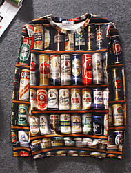 Men's High Quality Creative Natural Pattern Stereo Simple Leisure Fashion Personality 3D Sweater——Beer Cans