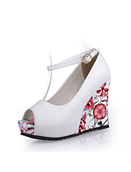 Women's Shoes Wedge Heel Wedges/Peep Toe Pumps/Heels Office & Career/Party & Evening/Dress Black/Brown/White/Beige