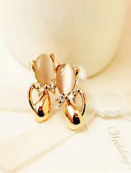 Lovely Opal Diamond Earrings Cute Gemstone & Crystal Stud Earrings 2015 Hot Sale