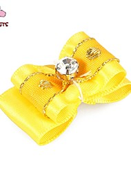 FUN OF PETS® Lovely Golden Ribbon Style Rhinestone Decorated Rubber Band Hair Bow for Pet Dogs