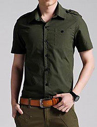 Men's Solid Casual / Work / Formal / Sport / Plus Sizes Shirt,Cotton Short Sleeve Green / Yellow