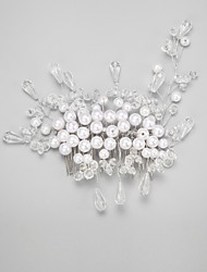 Women's / Flower Girl's Crystal / Imitation Pearl Headpiece-Wedding / Special Occasion Hair Combs 1 Piece White Round