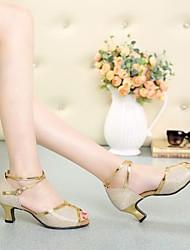 Non Customizable Women's Dance Shoes Paillette Paillette Latin High Heels Chunky Heel Indoor / Practice / Beginner / ProfessionalBlack /