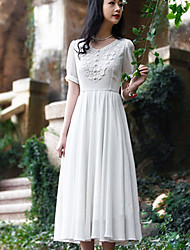 Women's Sexy/Maxi Micro-elastic Short Sleeve Midi Dress (Chiffon)