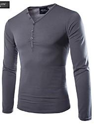camiseta de la moda de manga larga v cuello delgado estilo fino camiseta estilo coreano de jesunlom®man todo-fósforo ocasional debajo de