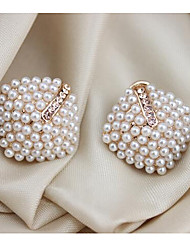 May Polly  Gold pearl diamond earrings