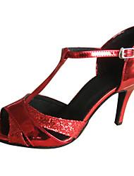 Zapatos de baile (Rojo) - Danza latina Tacón Personalizado