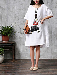 Women's Casual Micro-elastic ½ Length Sleeve Asymmetrical Dress (Linen) (More Colors)