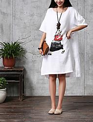 De las mujeres Corte Ancho Vestido Casual Asimétrico Escote Redondo Lino