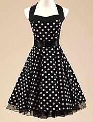 Frauen halter 50er vintage Tupfen Rockabilly-Swing-Kleid (nicht enthalten Unterrock)