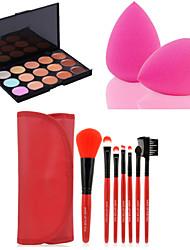 vente chaude 15 couleurs face contour crème anticernes maquillage palette + 7pcs rouges pinceaux de maquillage mis en kit + Powder Puff