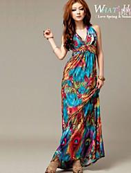 Women's Cotton Peacock Print Sexy Long Beach Maxi Dress