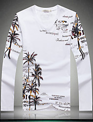 Men's long Sleeve T-shirt China's Style big yards butterfly flower new men's T-shirt fat men's long sleeve T-shirt