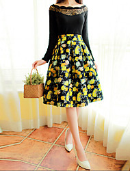 Women's Floral Skirts , Vintage/Party Knee-length