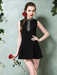TS Women's Fashion Simplicity Micro-elastic Beads Slim Elegant Sleeveless Above Knee Dress(Polyester)