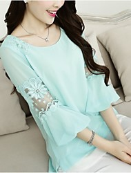 Women's Solid Blue/Pink/White/Black/Green Blouse , Round Neck Short Sleeve Embroidery/Ruffle