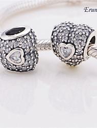 euner® Saint Valentin 925 coeur en argent cz charme de perles lâche correspond européen charme bracelets bijoux des femmes