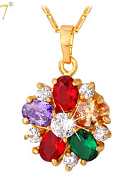 U7® Women's Shiny Zircons Pendants 18K Real Gold/Platinum Plated Multicolor Gemstones Flowers Charms Necklaces