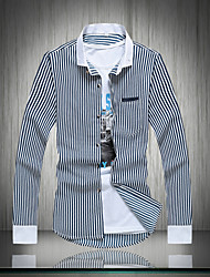 Men's Casual Plus Sizes Striped Long Sleeve Regular Shirt (Cotton)