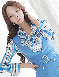 DABUWAWA Women's Bodycon/Print/Work Shirt Collar Long Sleeve Tops & Blouses (Cotton/Elastic/Nylon)