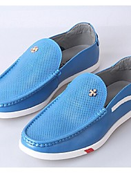 Men's Shoes Casual Leather Loafers Blue/White