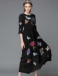 Autumn Embroidery Plus Size Women Vintage Style Sexy See Through 3/4 Sleeve Pretty Party/Casual Long Dress