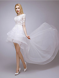 A-line Wedding Dress-Asymmetrical Jewel Lace / Tulle
