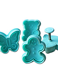 4pcs supporter gâteau de motif et de coupeur de biscuit moule avec plongeur