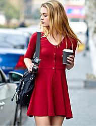 Bawełna Sukienka - Przed kolano - Na co dzień