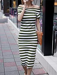 Women's Sexy Inelastic Short Sleeve Midi Dress (Sequin/Cotton Blends)