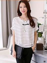 Women's Striped White Blouse , Round Neck Short Sleeve
