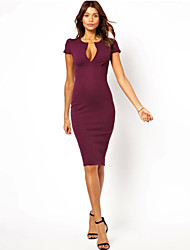 A.H.W Women's V-Neck Dresses , Knitwear Sexy/Bodycon/Party Short Sleeve