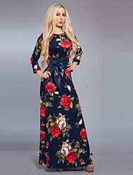 Women's Stand Button Dresses , Cotton Vintage/Print Long Sleeve SASA