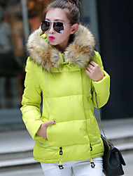 Women's Regular Padded Coat,Cute / Active / Punk & Gothic Going out / Casual/Daily / Work Solid-Spandex Polypropylene Long Sleeve Hooded