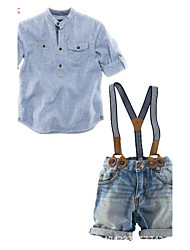 Boy's Cotton / Polyester / Denim Clothing Set,Summer Striped
