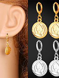 U7 Vintage Cute Queen Coin  Earring for Women Fashion Jewelry 18K Real Gold   Platinum Plated High Quality