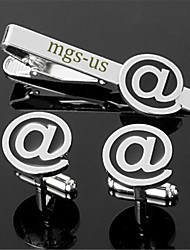 Personalized Gift Men's Engravable Silver Plain Internet Email @ Pattern Cufflinks and Tie Bar Clip Clasp(1 Set)
