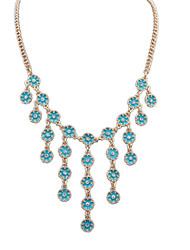 Women's European Style Fashion Small Fresh Flowers Tassel Cute Alloy Choker Necklace