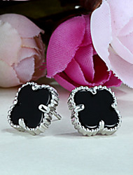 925 boucles d'oreilles style folk des boucles d'oreilles en argent onyx noir en argent sterling de la mode mignon trèfle modèles féminins