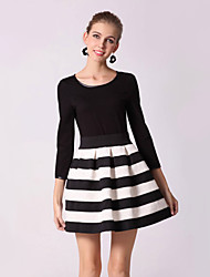 Women's Work A Line / Skater Dress,Striped / Patchwork Round Neck Mini Long Sleeve Black Cotton Fall