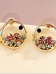 Stud Earrings Rhinestone Alloy Luxury Jewelry Gold Jewelry 2pcs