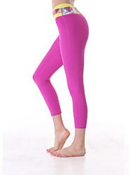 Yoga Pants Fundos / Calças / 3/4 calças justas / Crop Elástico em 4 modos / Sensação de Sustentação / Compressão por Partes Alto Stretchy