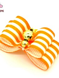 FUN OF PETS® Elegant Stripe Style Golden Rhinestone Decorated Rubber Band Hair Bow for Pet Dogs
