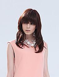 Human Hair Wavy Virgin Remy Wigs Mono Top Medium Length Beautyful Hair Wig