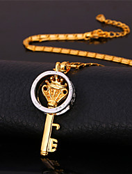 U7 New Key Pendant Necklace 18K Gold Platinum Plated Vintage Jewelry Gift for Women Men High Quality