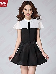 YUEMIAN™ Women's Black And White Stitching Chiffon Shawl Collar Shirt Jacket + Small Bowknot Dress