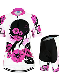 Arsuxeo Cycling Jersey with Shorts Women's Short Sleeve Bike Breathable Quick Dry Anatomic Design YKK Zipper Back PocketJersey +