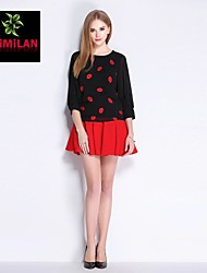 YIMILAN® Women's The New Red Lip Embroidered Jacket + Bow Bust Skirt Suit Skirt