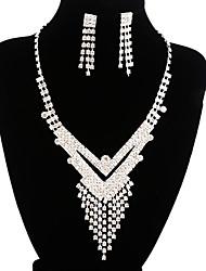 jóias de cobre prata moda longa queda totalmente strass set 21