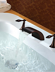 Brass Oil-Rubbed Bronze Finish Dual Handles Basin Waterfall Tap